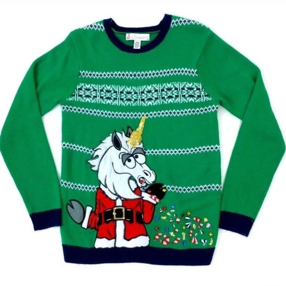 3603ed13f17129 Jolly Sweaters Sweaters   Santa Unicorn Ugly Christmas Sweater New ...